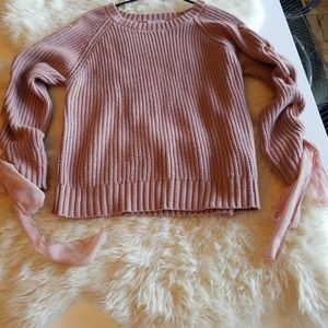 🎀Pink Lace up chunky knit bow sweater🎀
